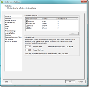 vCenter Statistics Settings
