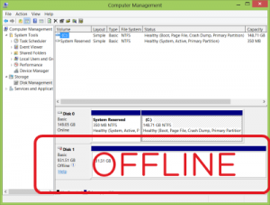 Windows Disk Management Offline Disk