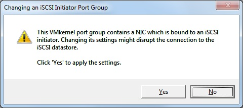 changing an iscsi initiator port group warning
