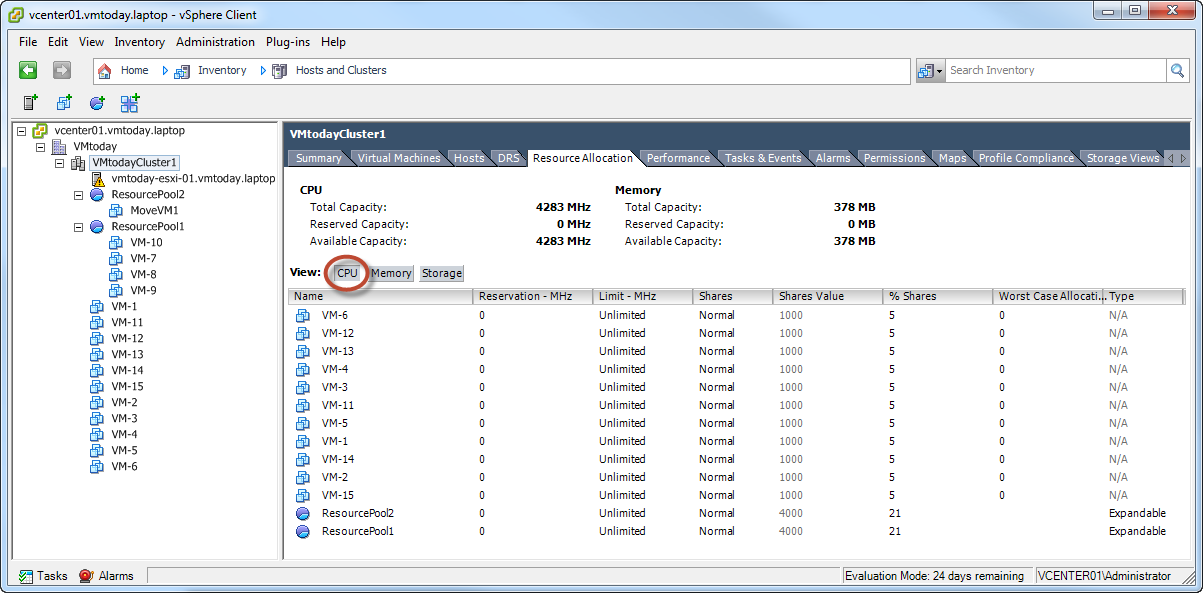 VMware vSphere Resource Pools – Resource Allocation Revisited