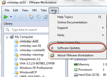 manually check for updates in vmware workstation