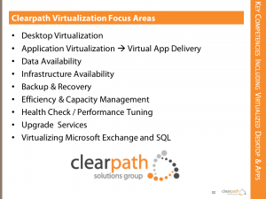Clearpath Virtualization Areas of Focus
