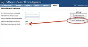 vcenter virtual appliance toggle certificate setting to fix Failed to connect to VMware Lookup Service error