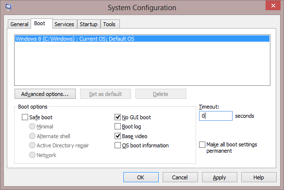 MSconfig No GUI Boot and Base Video