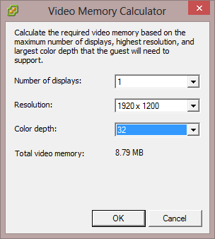 VMware VM Video Memory Calculator High Resolution