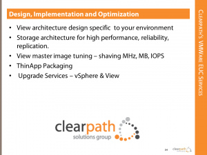 Clearpath VMware EUC Services, ThinApp Packaging, View Health Check, View Performance Tuning