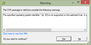"OVF Import The specified operating system identifier ""(id:83)"" is not supported"