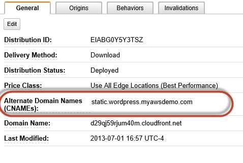 Create CNAME for CloudFront distirbution point for W3TC