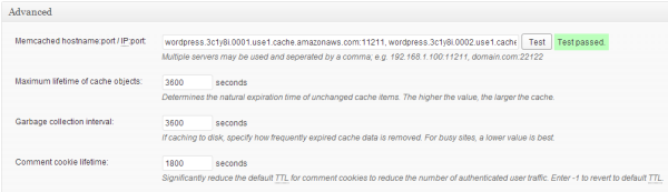 testing w3tc memcached settings with ElastiCache