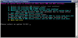 ESXi NTP and DNS Setting Script menu