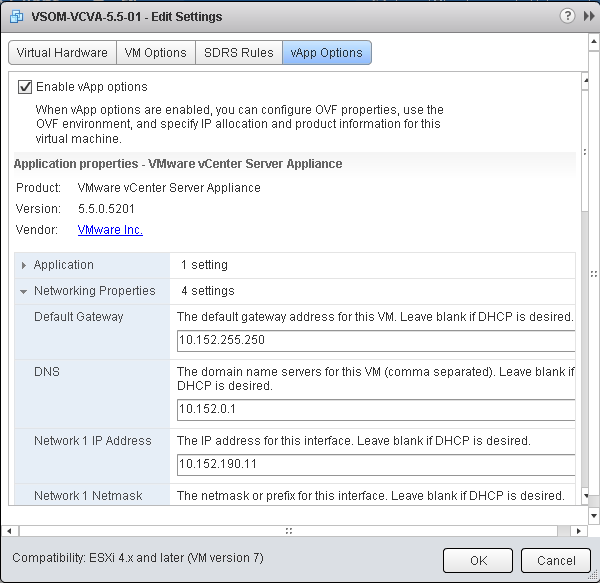 VMware vApp Options Networking Properties