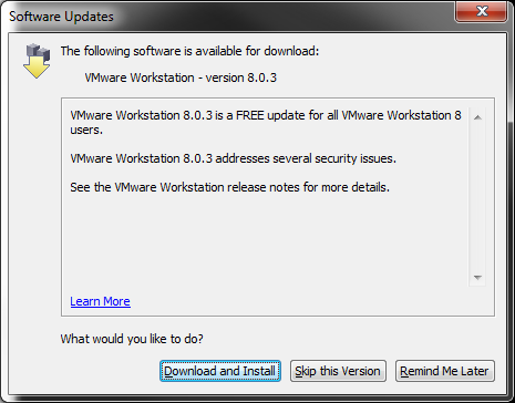 VMware Workstation 8.0.3 Update Prompt
