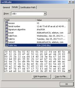 Certificate Details Public Key RSA Length