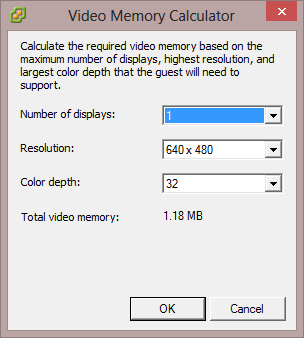 VMware VM Video Memory Calculator Low Resolution