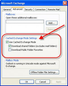 Outlook Cached Mode Configuration