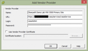 Add VASA Vendor Provider Details