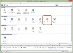 vSphere Client Storage Providers