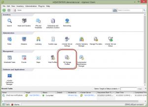 vSphere Client VM Storage Profiles