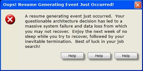 Resume Generating Event Windows Error Message