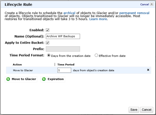 Create AWS S3 Lifecycle Rule to Archive to Glacier