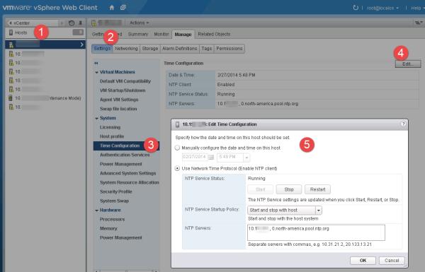 Configure NTP for ESXi in vSphere Web Client