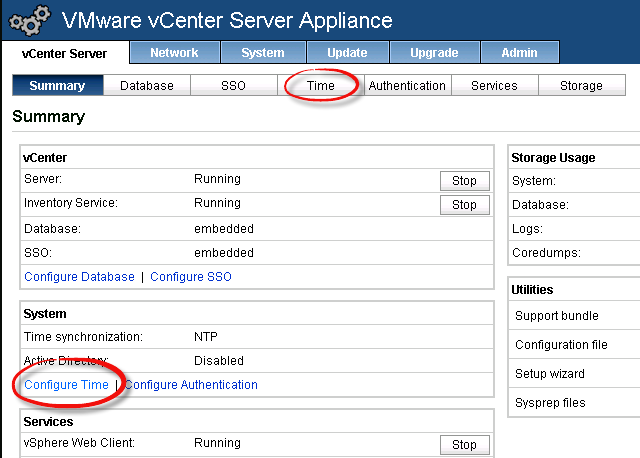 vCenter Virtual Appliance NTP Settings