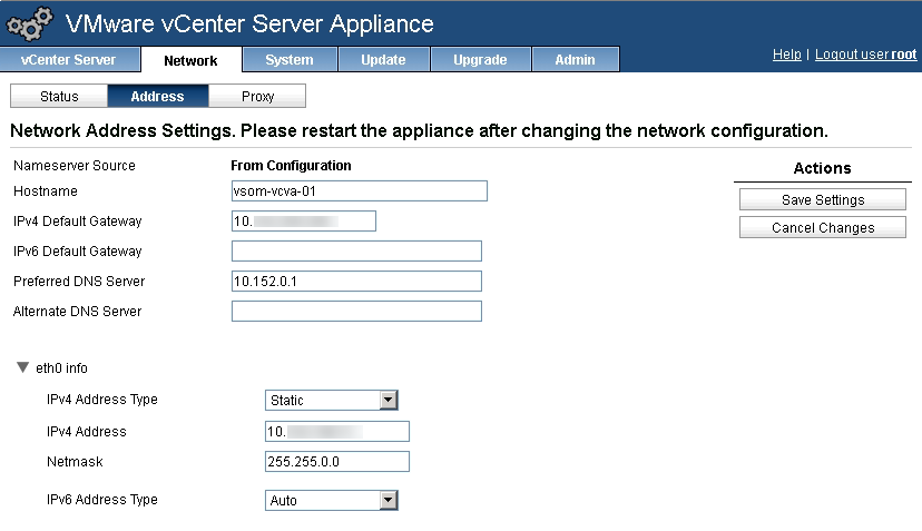 vCenter Virtual Appliance Network Settings